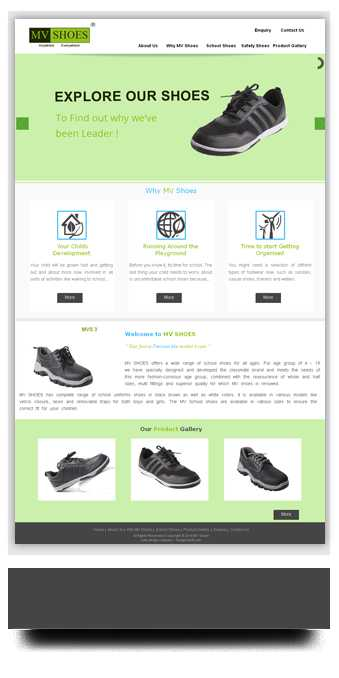 Website Designed for shoes Manufacturer in Coimbatore